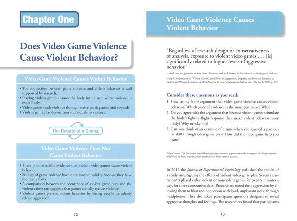 Argumentative Essay On Violent Video Games